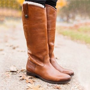 Melissa Button Tall Brown Leather Riding Boot 7.5